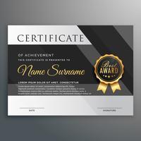 modelo de design de certificado premium em ouro e preto