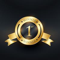 1º número um design de rótulo dourado de classificação