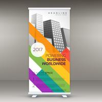 roll up banner template with colorful lines for your brand