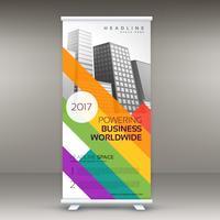 Banner-Vorlage mit bunten Linien für Ihre Marke aufrollen