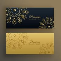black and gold premium banner decoration in mandala style