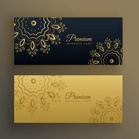 Adorno de banner premium negro y dorado en estilo mandala.