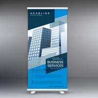 display blu roll up banner design vettoriale modello in piedi