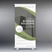 elegante stand in business verde ondulato roll up banner design templa