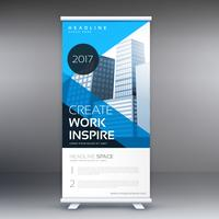 blue roll up banner with geometric shapes
