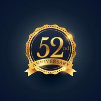 52nd anniversary celebration badge label in golden color