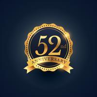 Étiquette de badge de célébration du 52e anniversaire de couleur or