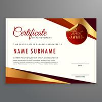 luxury certificate template design with elegant golden and red s