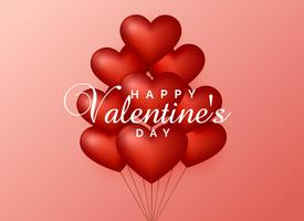 hart ballonnen op roze achtergrond voor Valentijnsdag