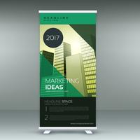 negocio roll up banner plantilla de diseño en color verde