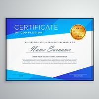 stilig blå geometrisk certifikat mall design