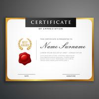 Diseño de plantilla de certificado limpio elegante con bor dorado