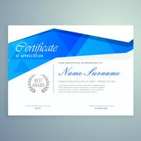 design elegante modelo de certificado moderno com sh abstrato azul