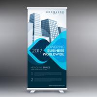 blue roll up business flyer banner design