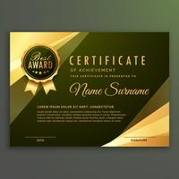 certificat de diplôme prime d'or