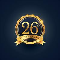 Etiquette insigne de célébration 26e anniversaire en couleur dorée