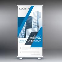 blue business roll up standee banner template design