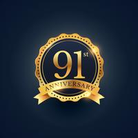 Étiquette de badge de célébration du 91e anniversaire de couleur dorée
