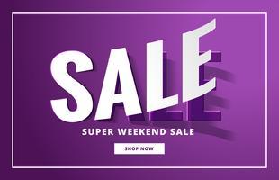 Banner de venta elegante en color púrpura con efecto 3d