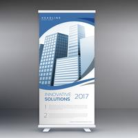 roll up banner template with buildings