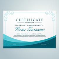 schone blauwe certificaat ontwerp moderne sjabloon