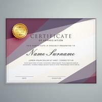 design de modelo de certificado de vetor moderno com geométrico roxo