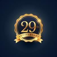 Etiquette de badge de célébration du 29e anniversaire de couleur dorée