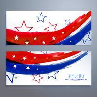 conjunto de bandeiras do dia da independência americana