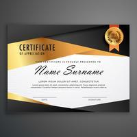 Plantilla de diseño de certificado de lujo hecha con formas geométricas.