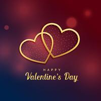 zwei goldene Herzen lieben Valentinstagentwurf