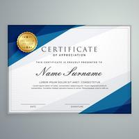 elegant, wit en blauw, certificaat, diploma, mal