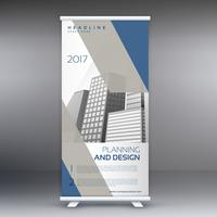 limpio moderno gris y azul standee roll up banner diseño templat