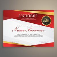 modelo de prêmio prémio certificado vermelho diploma design