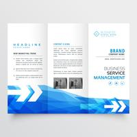 abstract blue trifold business brochure design