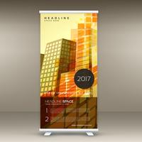 astratto giallo standee roll up banner design in tema retrò