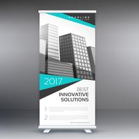 modern business roll up standee banner concept design with blue