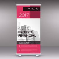 clean modern pink standee roll up banner design template