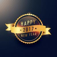 feliz año nuevo etiqueta dorada con cinta ondulada