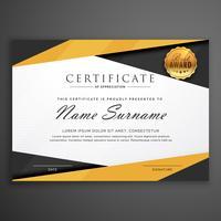 Plantilla de diseño de premio de certificado geométrico amarillo y negro