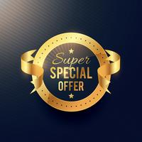 special offer golden label with ribbon