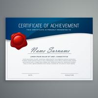certificate design template with blue curve shape