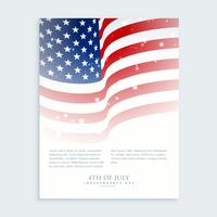panfleto de 4 de julho com bandeira de smerican