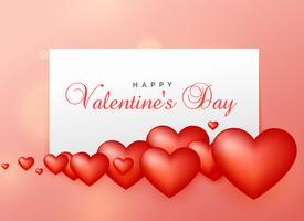 lycklig valentins dag hälsning design med 3d hjärtan