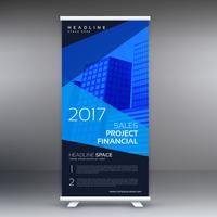 dark standee banner with blue abstract shapes