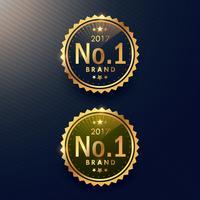 No.1 varumärke gyllene etikett och märkesdesign