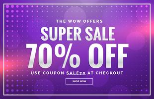 purple sale banner design with offer design for promotion