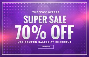 Diseño de banner de venta púrpura con diseño de oferta para promoción