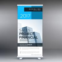 commercial roll up presentation banner template in blue color