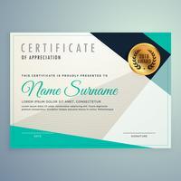 Elegante y moderno diseño certificado con formas geométricas.