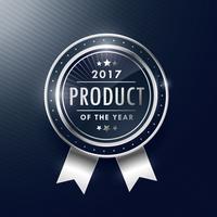 product van het jaar zilveren badge labelontwerp